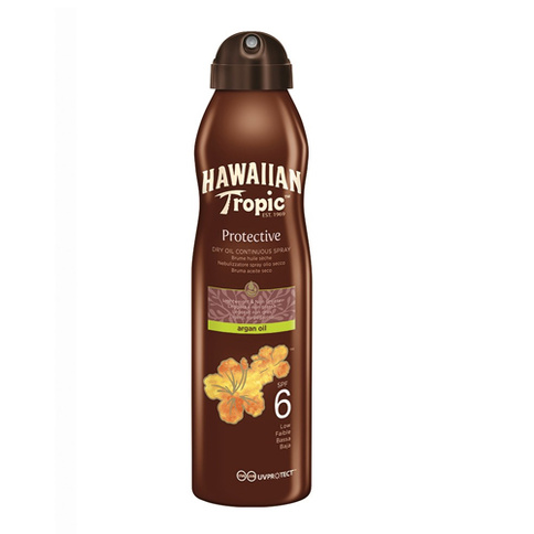 Hawaiian Tropic Protective Dry Oil Argan Oil Continuous Spray Spf6 177 ml