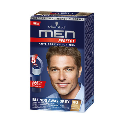 Schwarzkopf Men Perfect Anti-Grey Color Gel 40 Mörkblond 80 ml