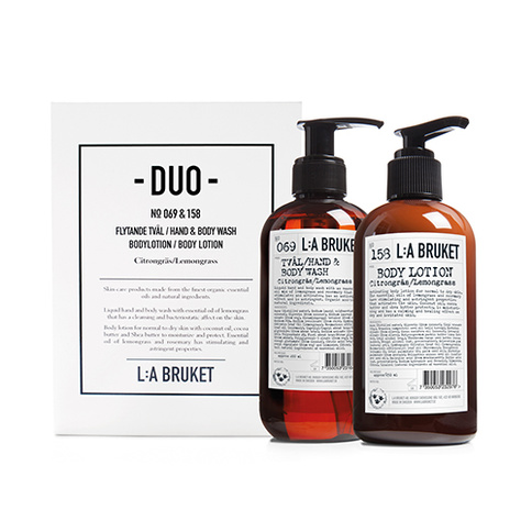 L:a Bruket Duo-kit Flytande Tvål/Bodylotion Citrongräs 200 ml