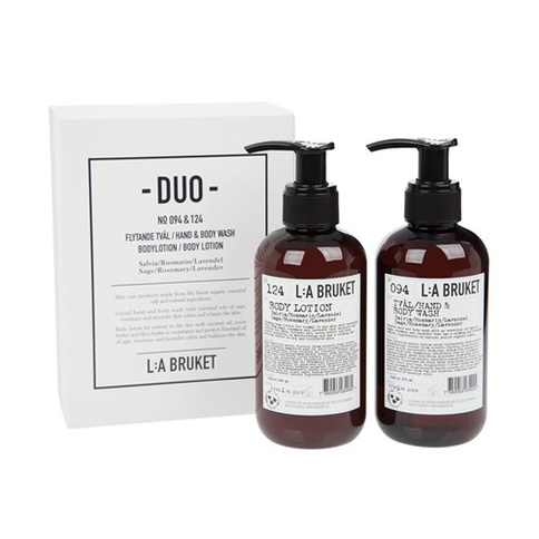 L:a Bruket Duo-kit Flytande Tvål/Bodylotion Salvia/Rosmarin/Lavendel 200 ml