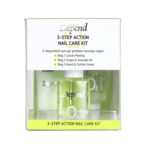 O2 VÅRD 3-Step Action Nail Care Set