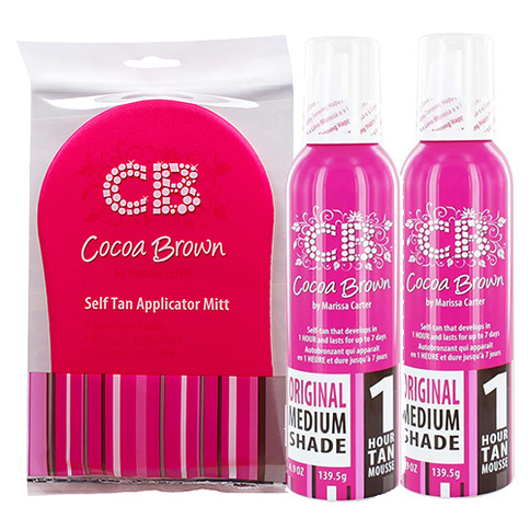 Cocoa Brown 2x 1 hour Tan Mousse Medium + Sel Tan Applicator Mitt
