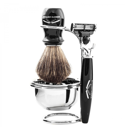 Benjamin Barber Duke SR 4-Piece Shaving Set Ebony Safety Razor