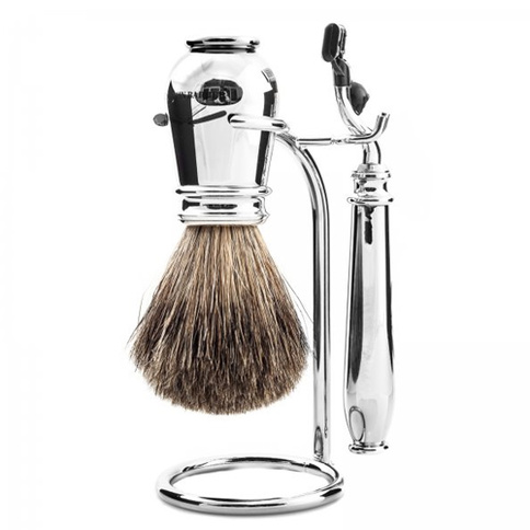 Benjamin Barber Nobel 3-Piece Shaving Set Chrome Safety Razor
