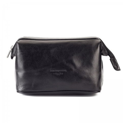 Benjamin Barber Black Leather Toilet Bag 25 x 13 x 15 cm