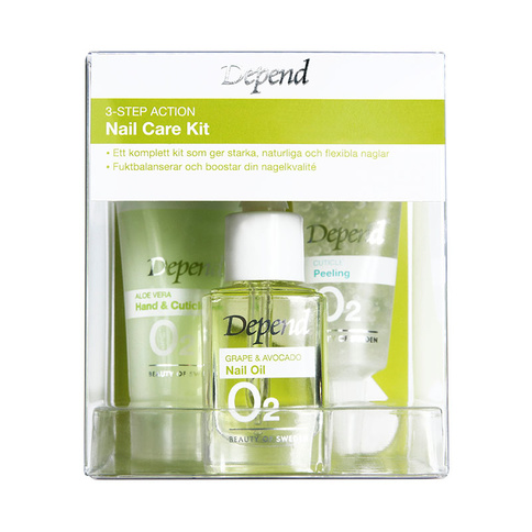 Depend O2 VÅRD 3-Step Action Nail Care Set